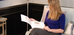Bedford Breast Center patient reading testimonials